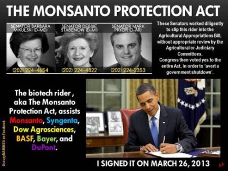 monsanto protection act obama